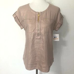 NEW Ellen Tracy Size Small Pink Linen Blouse